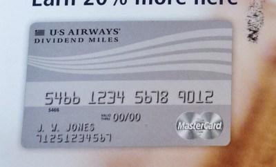 US Airways Dividend Miles MasterCard 20 Percent Bonus