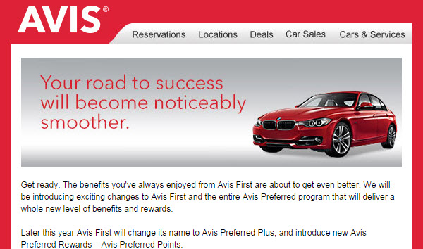 Avis first Avis preferred plus