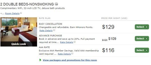 Hilton AAA rate comparison