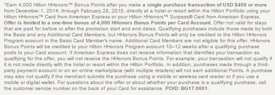 hilton hhonors 4000 bonus promotion terms and conditions