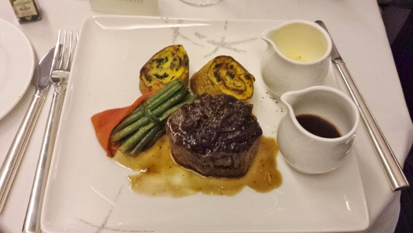 Cathay Pacific First Class JFK YVR Dinner seared prime beef
