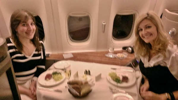 Cathay Pacific First Class JFK YVR Keri Shawna dining across