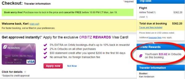 orbitz 20 orbucks promotion checkout
