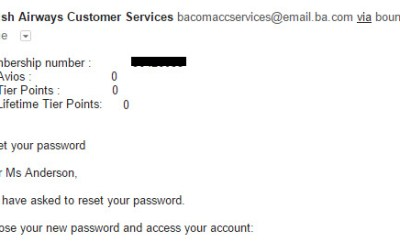 BA missing avios password reset email
