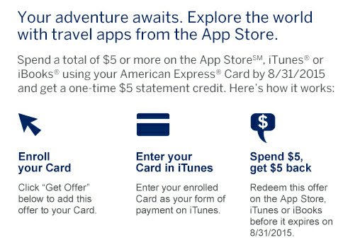 amex offers 5 off itunes