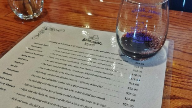 Bear Creek Winery Homer AK tasting list