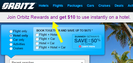 Orbitz 10 orbucks sign up bonus