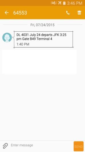 delta award reservation with no ticket flight delay text alert