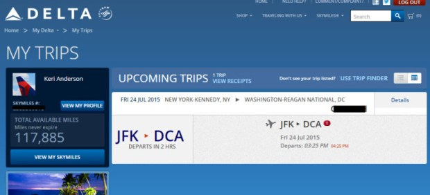 delta award reservation with no ticket