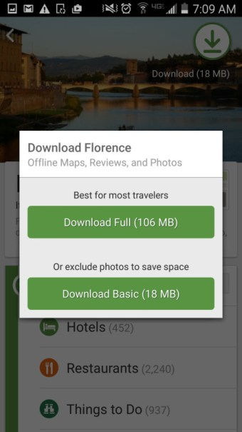 Tripadvisor city guide download options florence