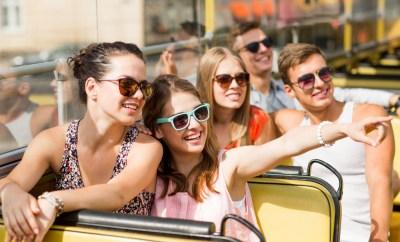 teenagers on tourist bus