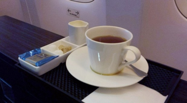Jet Airways Etihad First Class JFK-AUH after dinner tea