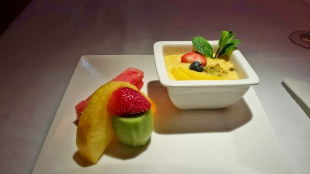 Jet Airways Etihad First Class JFK-AUH mango pudding fruit plate