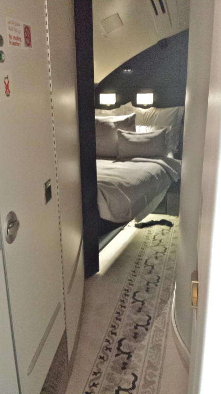 Etihad A380 First Apartment JFK-AUH inaugural The Residence bedroom