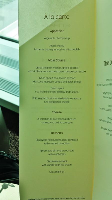 Etihad lounge jfk opening a la carte menu