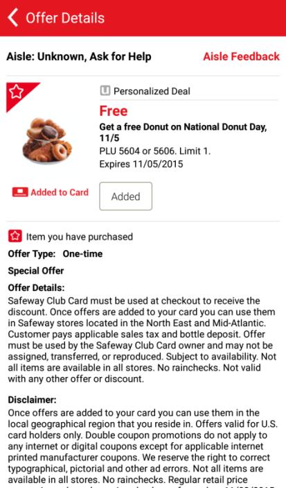 Safeway Free Doughnut National Donut Day