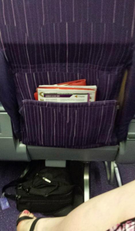Thai Airways Business Class Chennai Bangkok seat back pocket