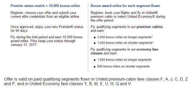 united premier status match bonus miles