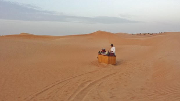 Al maha desert resort camel ride sunset bar