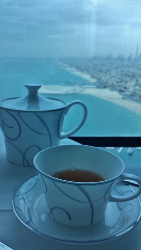 Burj Al Arab afternoon tea Skyview Bar tea w view