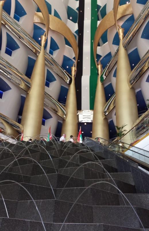 Burj Al Arab hotel lobby fountains