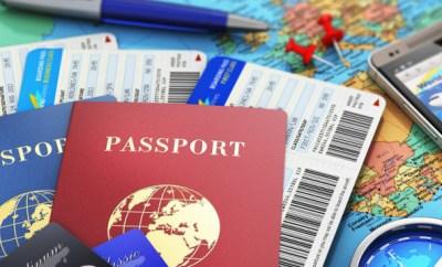 passport credit cards map compass