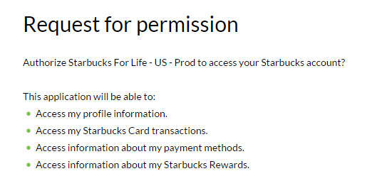 starbucks for life registration permisson