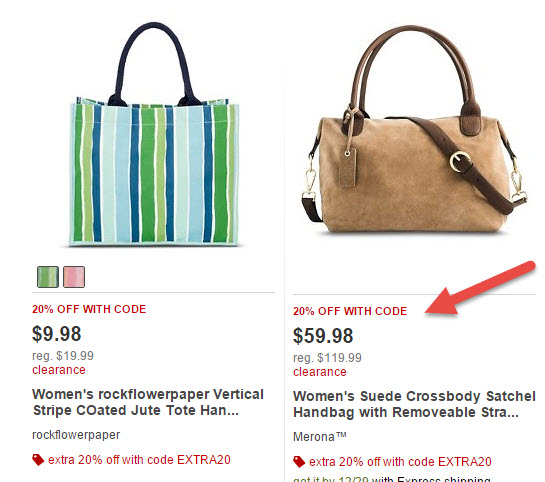 target totes 20 off
