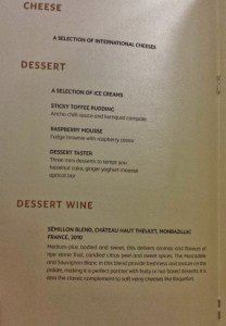 Etihad Airways First Apartment AUH-JFK cheese dessert menu