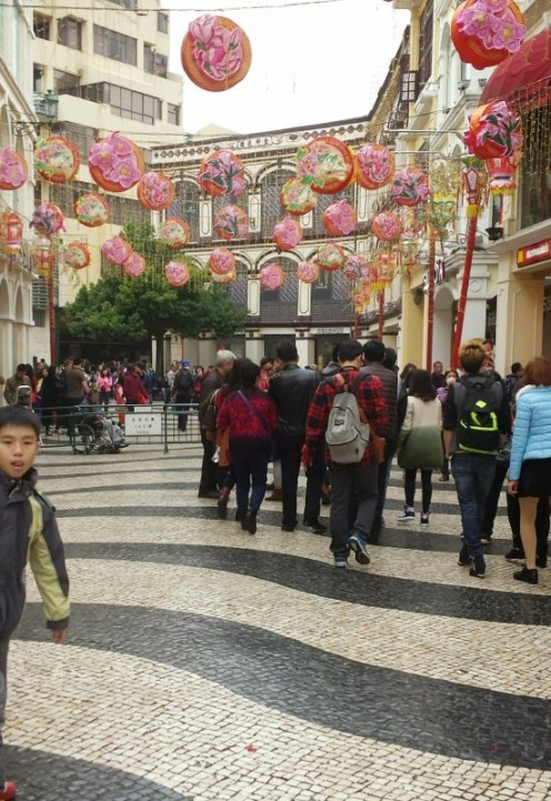 Chinese New Year Macau Senado Square overhead decorations