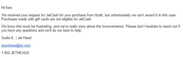 jet anywhere ineligible transaction