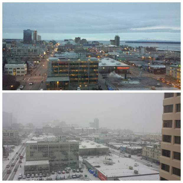 Downtown Anchorage Mar 4 2016 before after