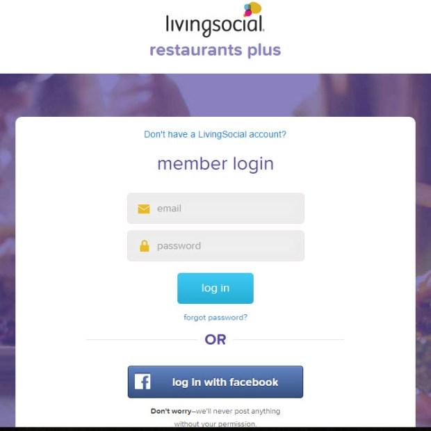 Living Social Restaurants Plus signup