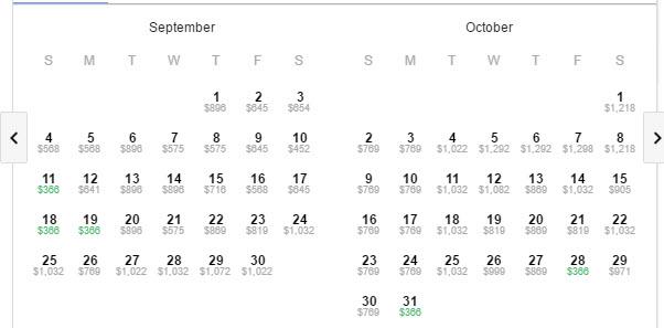Google Flights New Zealand qantas deal sep oct calendar
