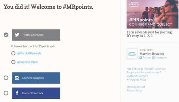 #MRpoints sign up page