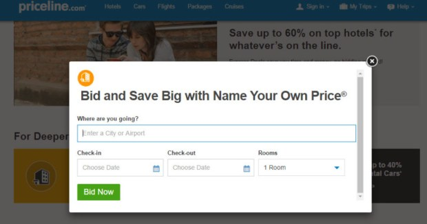 Priceline name your own price site