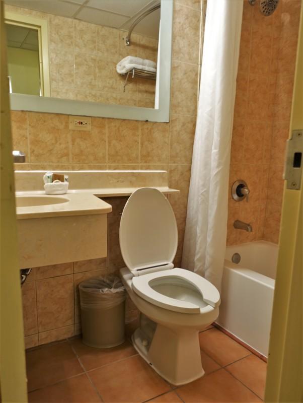 San Juan Airport Hotel Review queen room bathroom