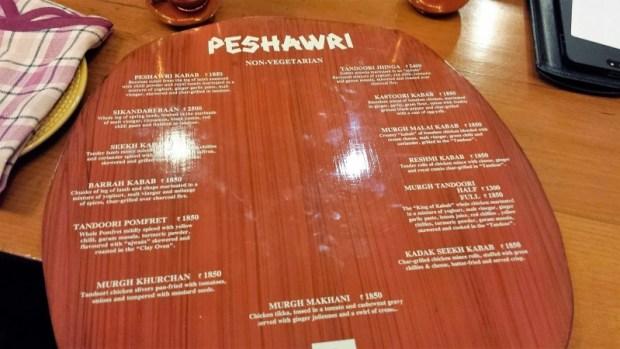ITC Mughal Peshawri menu