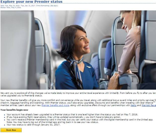 United complimentary premier status upgrade