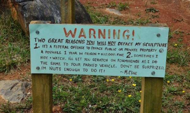 foamhenge natural bridge va warning sign