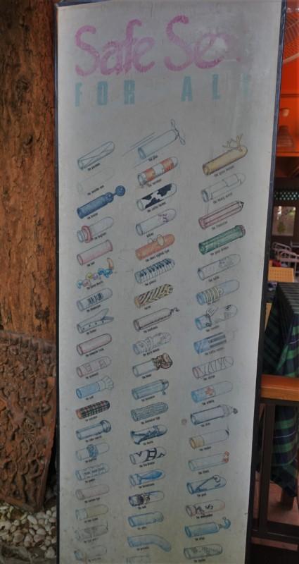 Cabbage and Condoms Bangkok Restaurant Review safe sex sign