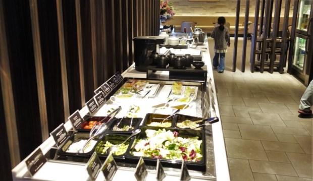 JAL First Class Sakura Lounge Narita Satellite salad options