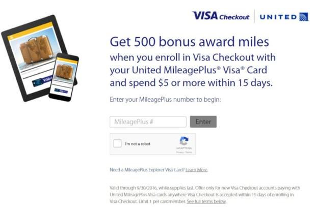 United Visa checkout 500 bonus miles offers