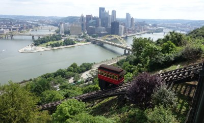 Duquense incline view of downtown pittsburgh pa