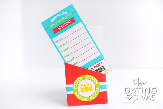 Vacation ticket template with holder from The Dating Divas