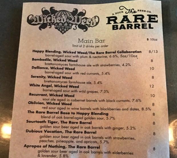 The Rare Barrel SF Beer Week Wicked Weed menu