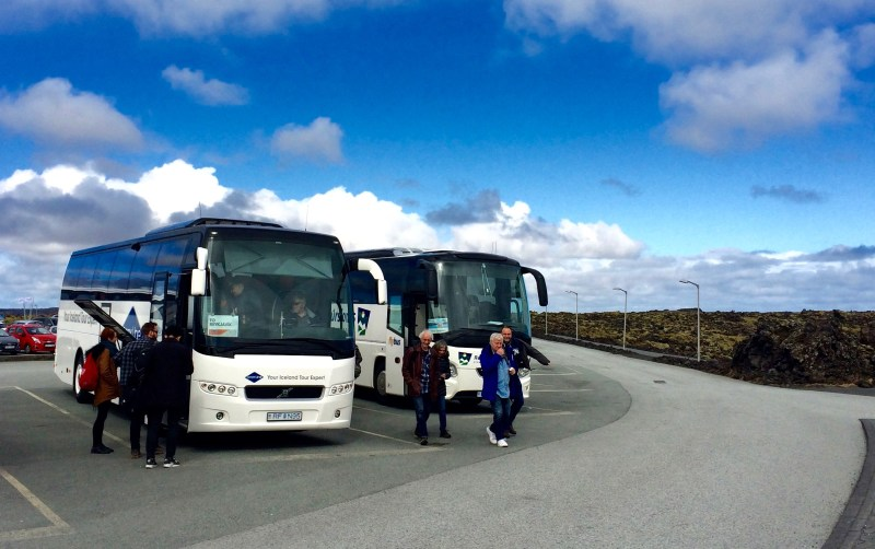 Buses outside the Blue Lagoon