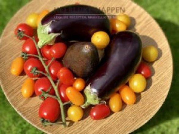 Gegrilde aubergine met geitenkaas mousse