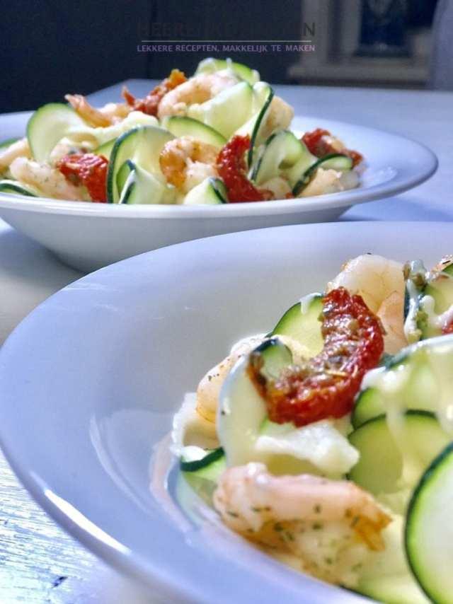 courgette salade met garnalen