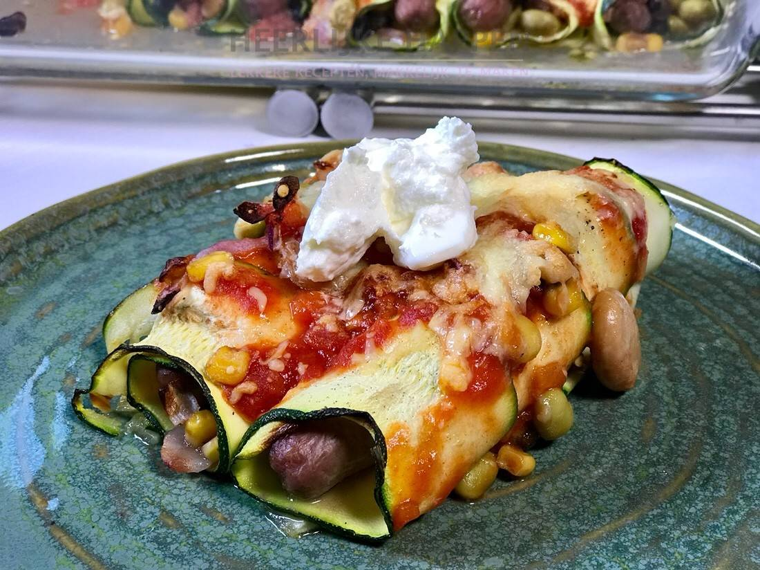 Loaded courgette enchiladas